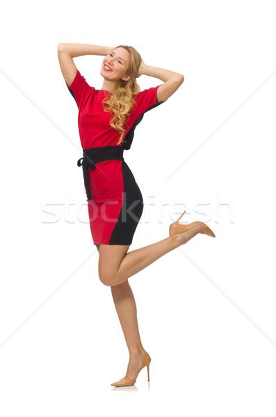 Piękna pani czerwony czarna sukienka odizolowany biały Zdjęcia stock © Elnur