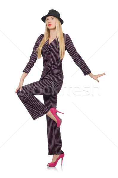 Bastante menina roxo retro terno isolado Foto stock © Elnur