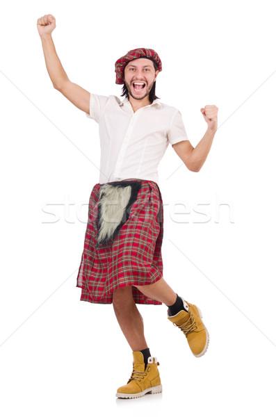 Stock photo: Man in scottish skirt isolated on white
