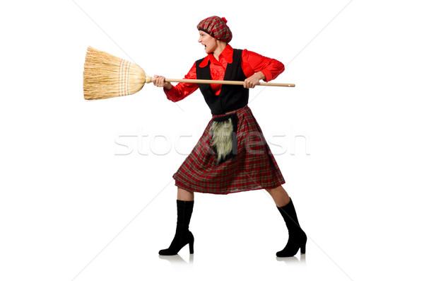 Engraçado mulher roupa vassoura homem saco Foto stock © Elnur