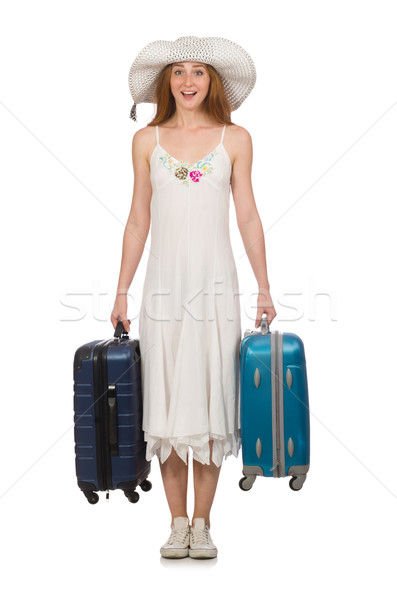 Woman in travelling concept on white Stock photo © Elnur