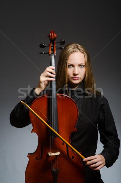 Nő játszik klasszikus cselló zene fa Stock fotó © Elnur
