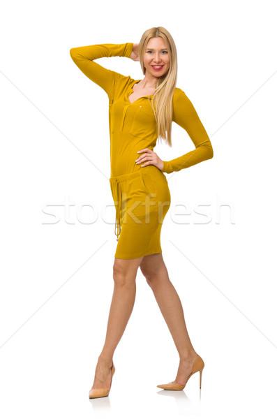 Bastante justo nina amarillo vestido aislado Foto stock © Elnur