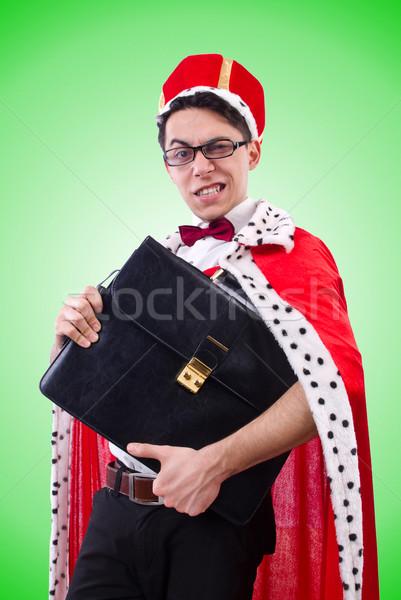 Koning zakenman geïsoleerd witte werk uitvoerende Stockfoto © Elnur