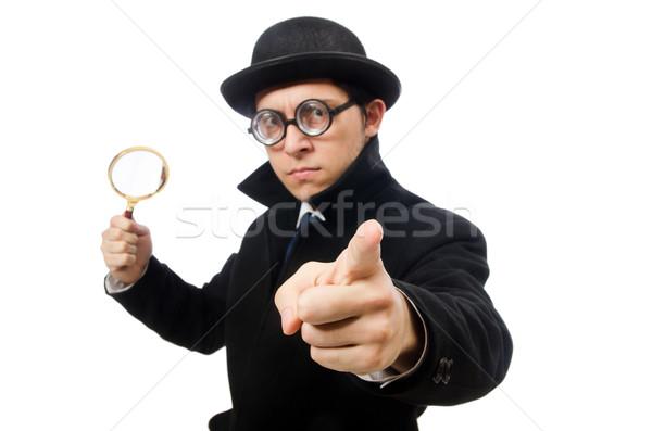 Detective vergrootglas geïsoleerd witte glas pak Stockfoto © Elnur