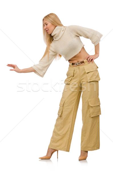 Stock fotó: Csinos · nő · bézs · nadrág · izolált · fehér · lány