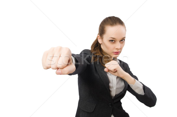 Pretty office manager fighting isolated on white Stock photo © Elnur