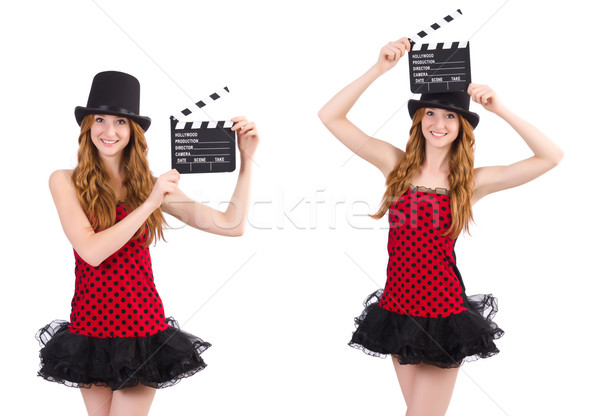 Pretty girl in red polka dot dress with movie board  isolated on Stock photo © Elnur