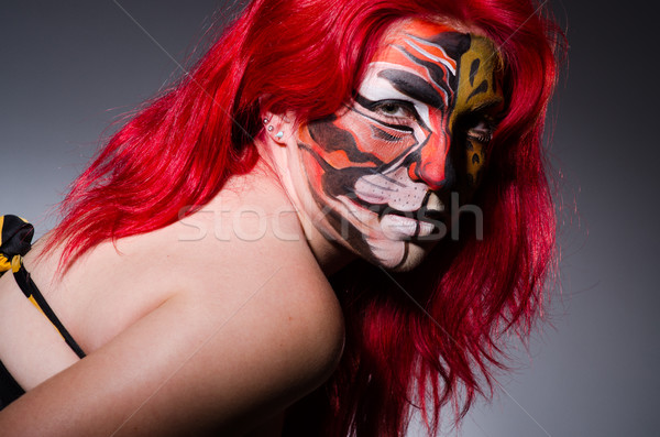 Femme tigre visage halloween mode chat Photo stock © Elnur