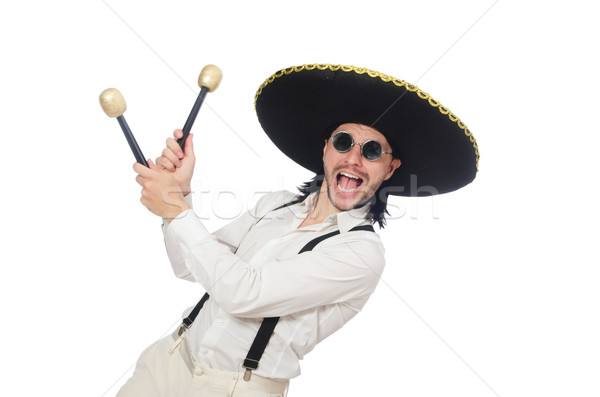 Funny mexican with maracas isolated on white Stock photo © Elnur