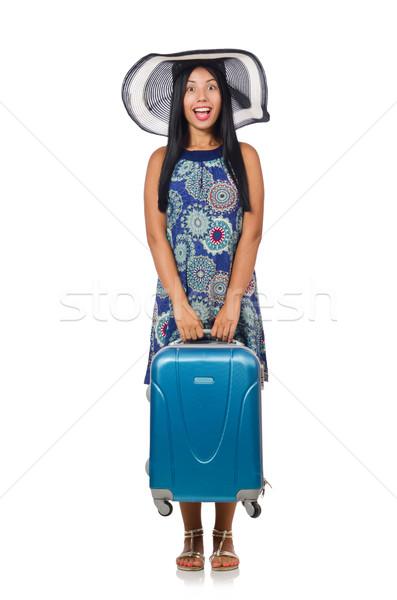 Vrouw koffer geïsoleerd witte meisje gelukkig Stockfoto © Elnur