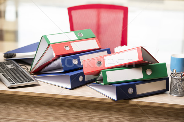 Stacks of office binders on desk Stock photo © Elnur