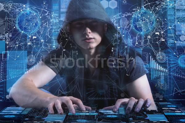 Jovem segurança de dados computador teia digital Foto stock © Elnur