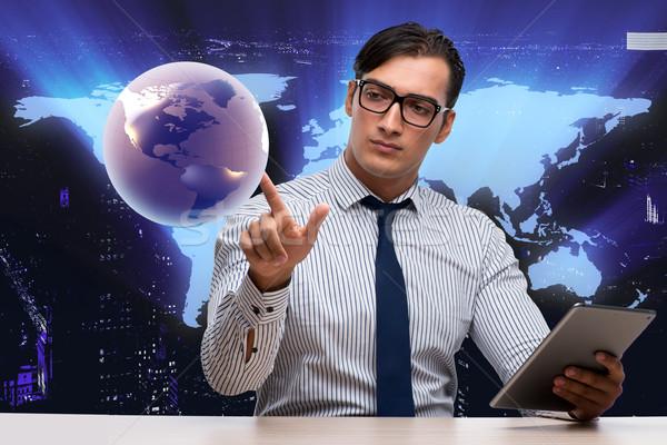 Empresário global de negócios computador mundo terra espaço Foto stock © Elnur