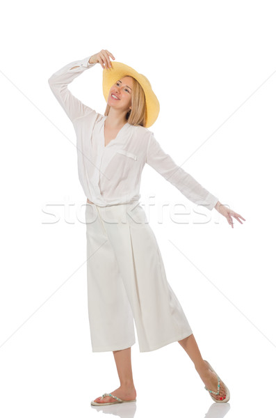 Blond hair model in elegant flared pants isolated on white Stock photo © Elnur