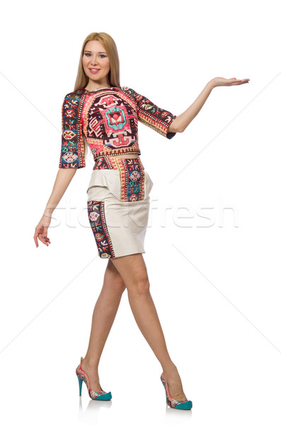 Pretty model in clothes with carpet prints isolated on white Stock photo © Elnur