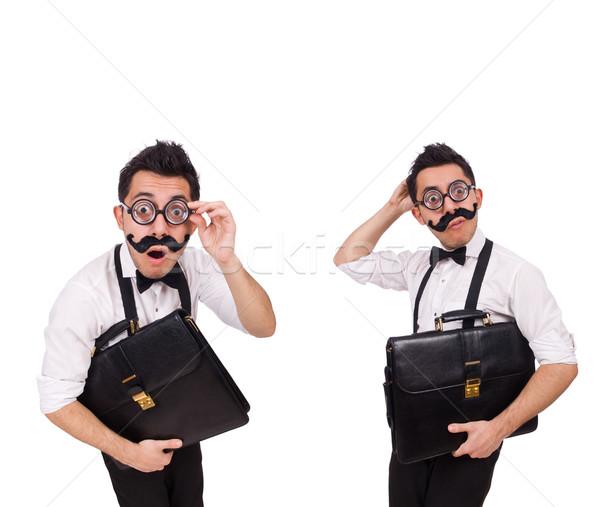 Joven maletín aislado blanco empresario gafas Foto stock © Elnur