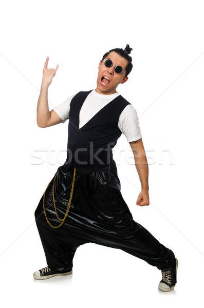 Vicces fiatalember tánc izolált fehér tánc Stock fotó © Elnur