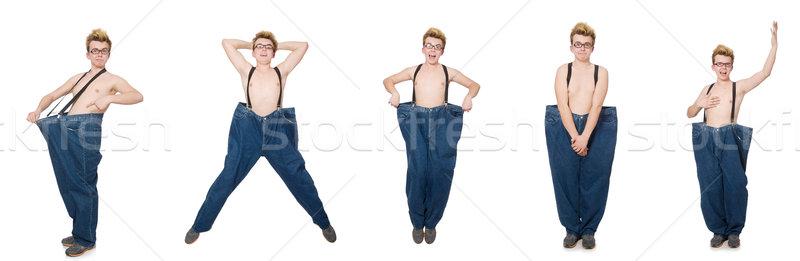 Vicces férfi nadrág izolált fehér lány Stock fotó © Elnur
