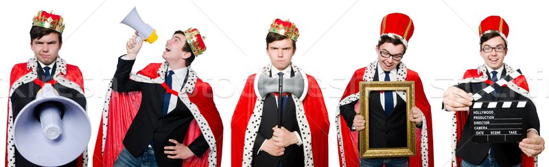 Man with crown and megaphone isolated on white Stock photo © Elnur