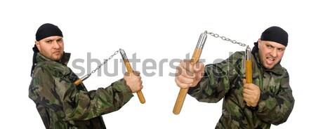 Jóvenes pistola aislado blanco moda arma Foto stock © Elnur