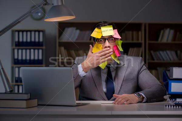 Zakenman laat uit werk notebook werken Stockfoto © Elnur