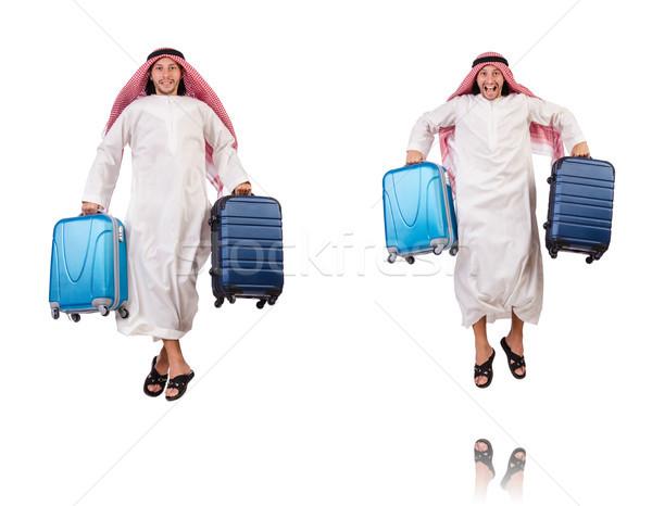 Emiraty człowiek bagażu biały działalności tle Zdjęcia stock © Elnur