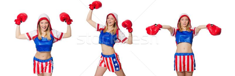 Női boxoló izolált fehér sport egészség Stock fotó © Elnur