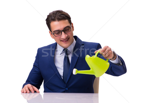 бизнесмен лейка изолированный белый воды деньги Сток-фото © Elnur