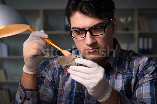 Archeologist working late night in office Stock photo © Elnur