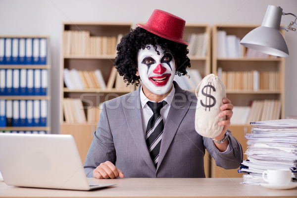 Clown businessman working in the office Stock photo © Elnur