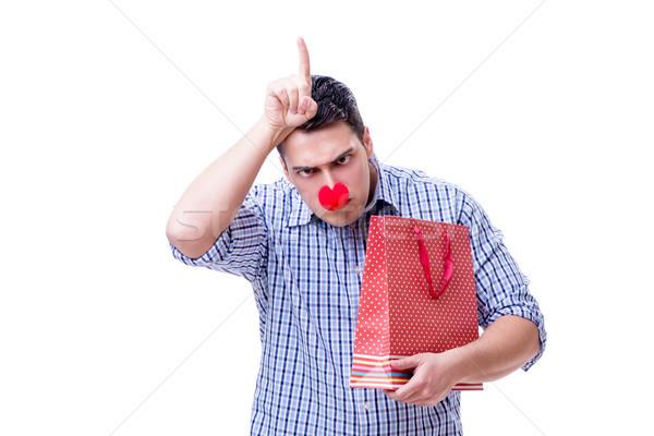 Homme rouge nez drôle panier Photo stock © Elnur