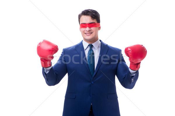 ügyvéd visel boxkesztyűk izolált fehér kéz Stock fotó © Elnur