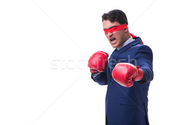 Lawyer with blindfold wearing boxing gloves isolated on white Stock photo © Elnur