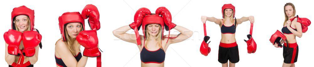 Donna boxer bianco mano sorriso faccia Foto d'archivio © Elnur