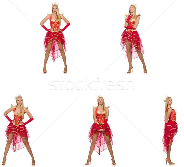 Mujer vestido rojo aislado blanco fondo traje Foto stock © Elnur