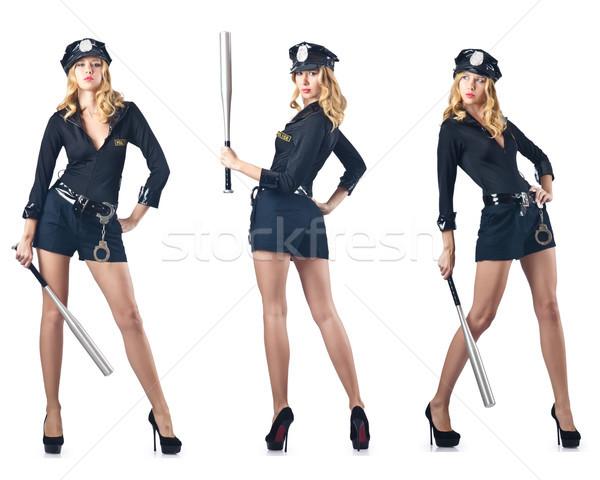 Kadın polis memuru yalıtılmış beyaz erotik askeri Stok fotoğraf © Elnur