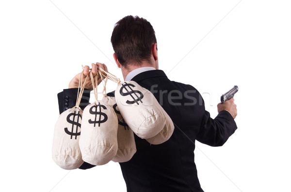 Gangster with bags of money on white Stock photo © Elnur