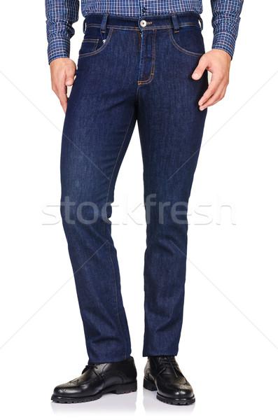 Moda spodnie biały model tle dżinsy Zdjęcia stock © Elnur
