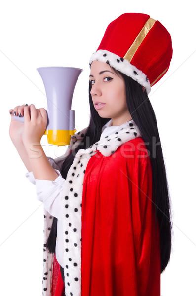 Királynő hangfal izolált fehér nő munka Stock fotó © Elnur