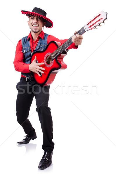Chitarrista isolato bianco musica party sfondo Foto d'archivio © Elnur