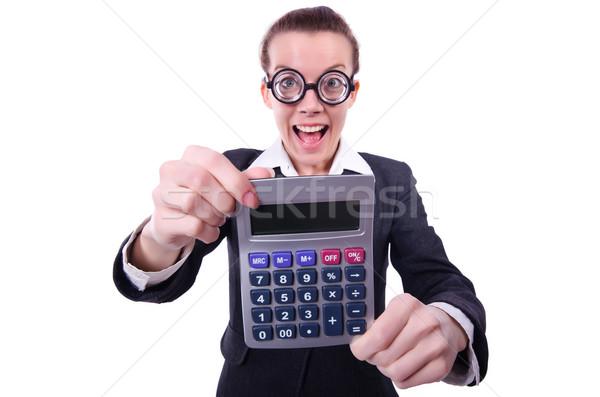 Nerd femenino contador calculadora dinero mano Foto stock © Elnur