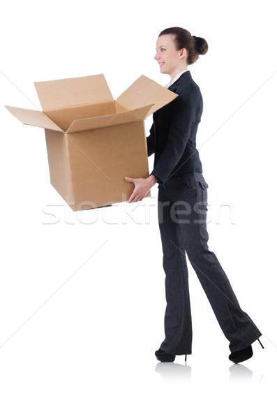 Stock photo: Woman businesswoman with boxes on white