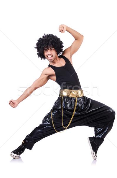 Ballerino afro parrucca isolato bianco uomo Foto d'archivio © Elnur