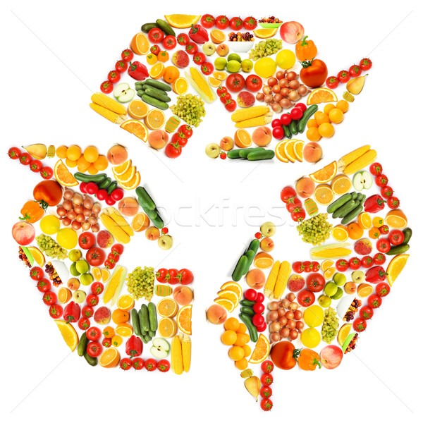 Recycle symbol made from various fruits and vegetables Stock photo © Elnur