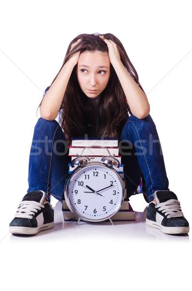 Fiatal női diák hiányzó határidők fehér Stock fotó © Elnur