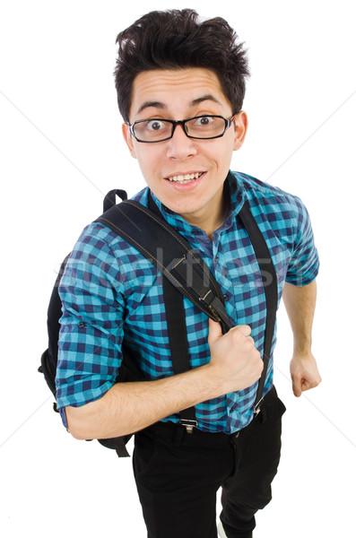 Stockfoto: Student · rugzak · geïsoleerd · witte · man · boeken