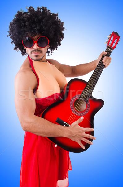 Man vrouw kleding gitaar muziek kruis Stockfoto © Elnur