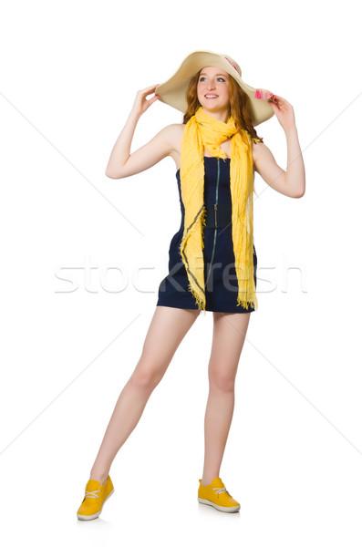 Jeune femme mode modèle été bleu blanche Photo stock © Elnur