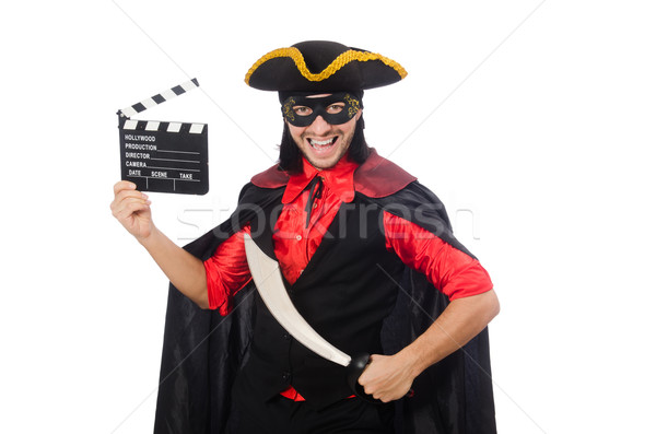 Stock photo: Young man in carnival coat with sword isolated on white